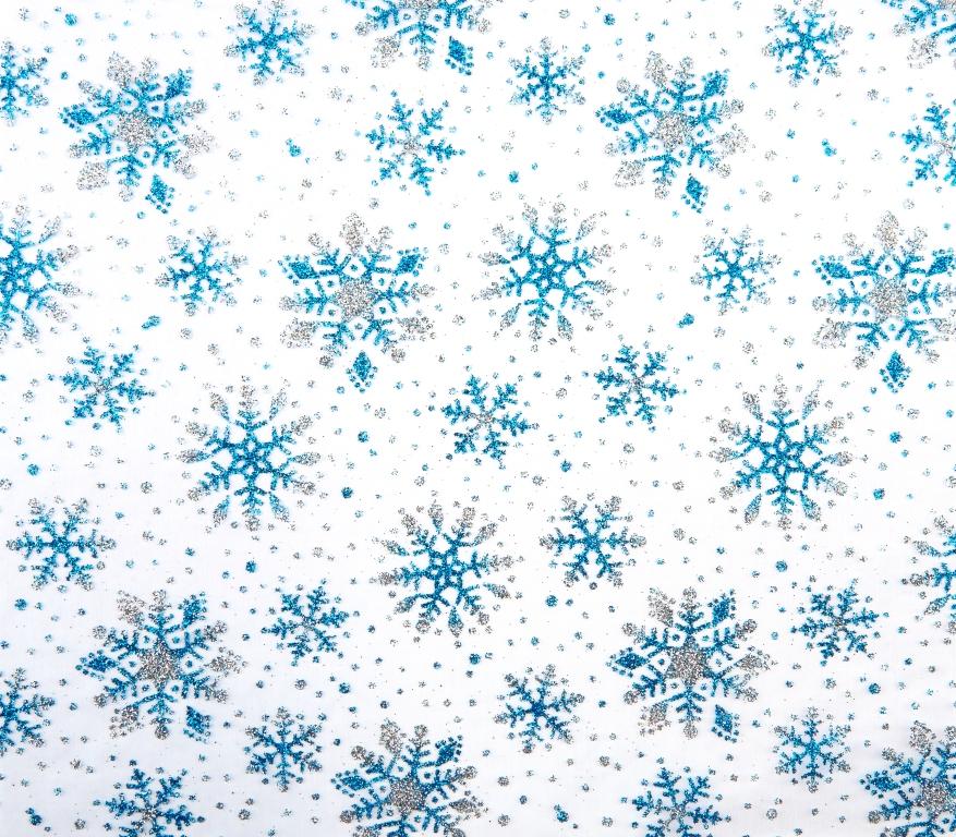 Chemin de table cristaux de neige blanc/turquoise 28 cm x 5 m