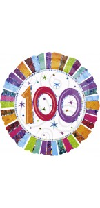 Ballon Anniversaire 100 ans rayures multicolores