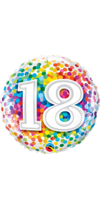 Ballon anniversaire 18 ans Rainbow Confetti 45 cm