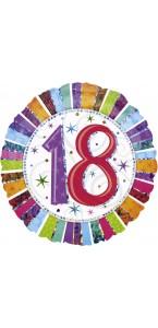 Ballon Anniversaire 18 ans XL rayures multicolores
