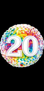 Ballon anniversaire 20 ans Rainbow Confetti 45 cm