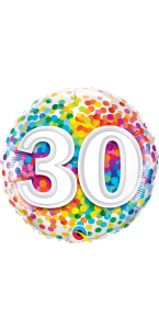 Ballon anniversaire 30 ans Rainbow Confetti 45 cm