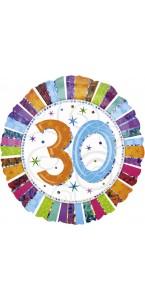 Ballon Anniversaire 30 ans rayures multicolores