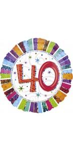 Ballon Anniversaire 40 ans rayures multicolores