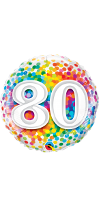 Ballon anniversaire 80 ans Rainbow Confetti 45 cm