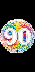 Ballon  anniversaire 90 ans Rainbow Confetti 45 cm