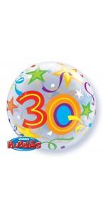 Ballon Bubble 30 ans Etoiles 55 cm