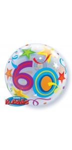 Ballon Bubble 60 ans Etoiles 55 cm