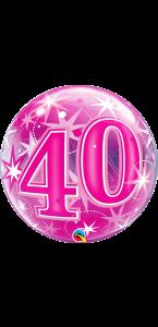 Ballon Bubble anniversaire 40 ans Etoile rose 55 cm