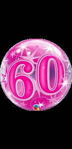 Ballon Bubble anniversaire 60 ans Etoile rose 55 cm