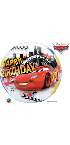 Ballon Bubble Cars Happy Birthday 55 cm