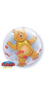 Ballon Bubble double ourson et cœur transparent