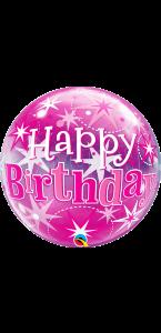 Ballon Bubble Happy Birthday Etoile rose 55 cm
