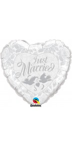 Ballon cœur just married aluminium argent