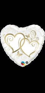 Ballon forme Cœurs entrelacés Or 45 cm