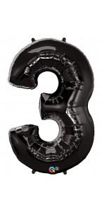 Ballon forme chiffre 3 aluminium noir