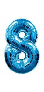Ballon forme chiffre 8 aluminium bleu