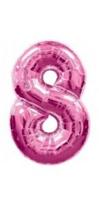 Ballon forme chiffre 8 aluminium rose