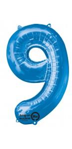 Ballon forme chiffre 9 aluminium bleu