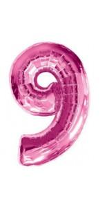 Ballon forme chiffre 9 aluminium rose