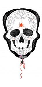 Ballon forme tête de mort noir et blanc Halloween