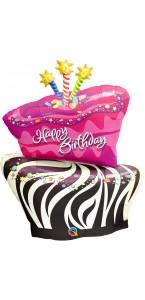 Ballon Gâteau d'anniversaire Funky Zèbre 100 cm