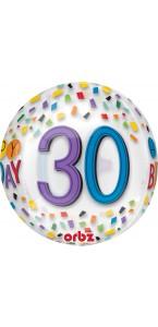 Ballon Happy Birthday 30 Rainbow Clear Orbz 38 x 40 cm