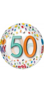 Ballon Happy Birthday 50 Rainbow Clear Orbz 38 x 40 cm