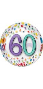 Ballon Happy Birthday 60 Rainbow Clear Orbz 38 x 40 cm