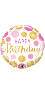 Ballon Happy Birthday  pois roses et or 45 cm