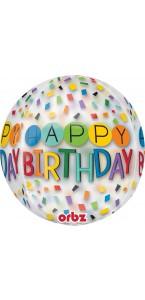 Ballon Happy Birthday Rainbow Clear Orbz 38 x 40 cm