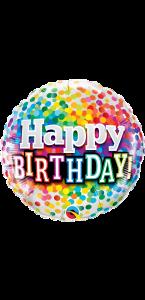 Ballon Happy Birthday Rainbow confettis 45 cm