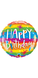 Ballon Happy Birthday Rainbow stripes 45 cm