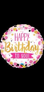 Ballon Happy Birthday To You pois roses et or 45 cm