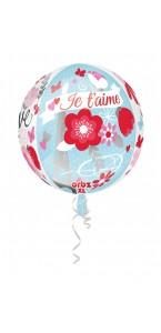 "Ballon ""je t'aime"" clear orbz 38 x 40 cm"