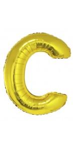 Ballon lettre C aluminium or