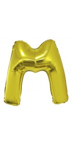 Ballon lettre M aluminium or