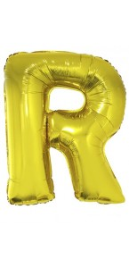 Ballon lettre R aluminium or