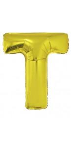 Ballon lettre T aluminium or