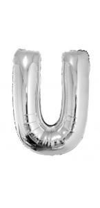 Ballon lettre U aluminium argent