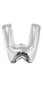 Ballon lettre W aluminium argent