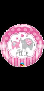 """Ballon Rose Eléphant """" C'est une fille"""" 45 cm"""