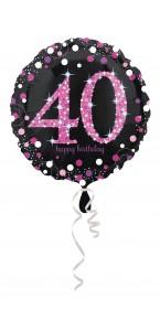 Ballon Sparkling Celebration rose Birthday 40 ans