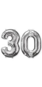 Ballons forme chiffre 30 ans argent