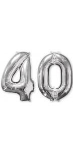 Ballons forme chiffre 40 ans argent