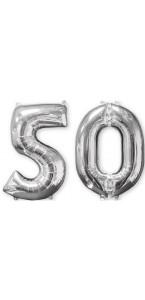 Ballons forme chiffre 50 ans argent