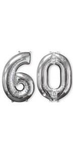 Ballons forme chiffre 60 ans argent