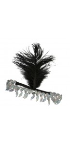 Bandeau Charleston plume noir