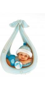 Bébé bleu dans une balancelle 6x9 cm