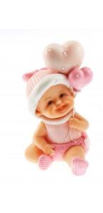 Bébé rose assis 8,5 x13 cm